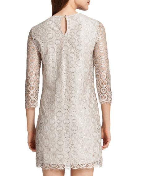 Vida 3/4-Sleeve Metallic Circle Dress, Ceramic