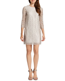Cynthia Steffe Vida 3/4-Sleeve Metallic Circle Dress, Ceramic