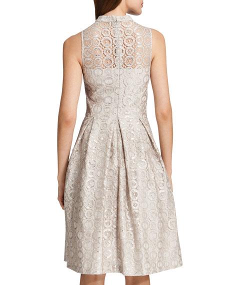 Sadie Sleeveless Metallic Circles Dress, Ceramic