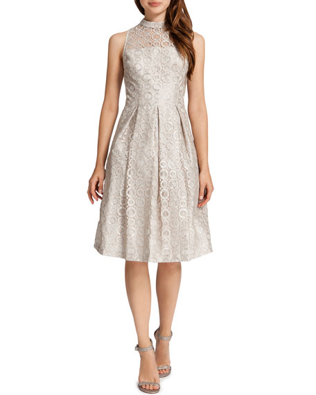 Sadie Sleeveless Metallic Circles Dress, Ceramic