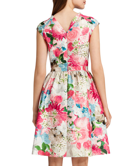 Presley Fit-and-Flare Sparkle Flora Dress, Pink Peony/Multicolor