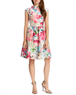 Cynthia Steffe Presley Fit-and-Flare Sparkle Flora Dress, Pink Peony/Multicolor