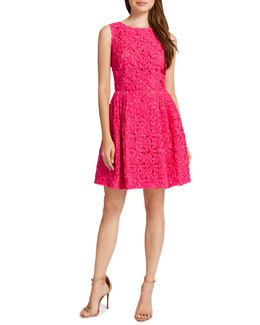 Cynthia Steffe Trixie Fit-and-Flare Lace Dress, Dark Peony