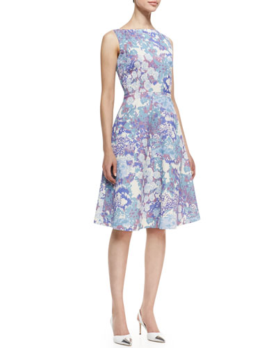 Kalinka Sleeveless Floral Print A-Line Cocktail Dress, Multicolor