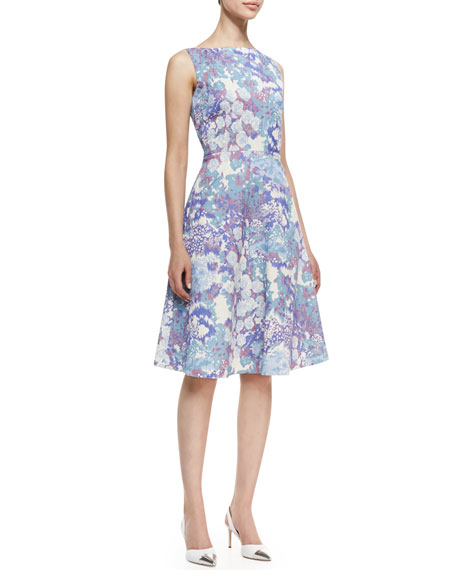 Sleeveless Floral Print A-Line Cocktail Dress, Multicolor