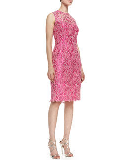 Kalinka Sleeveless Floral Lace Overlay Cocktail Dress, Hot Pink/Ivory