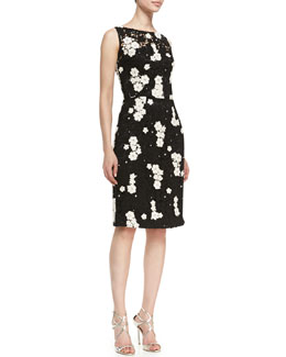 Kalinka Sleeveless Floral Contrast Cocktail Sheath Dress, Midnight