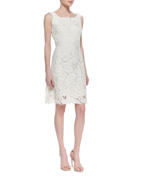 Sleeveless Lace Feather Hem Cocktail Dress, White