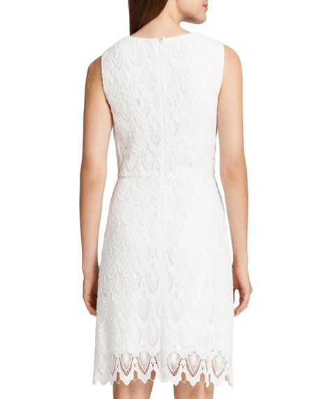 Ramsey Sleeveless Lace Sheath Dress, Lilly White