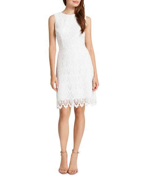 Ramsey Sleeveless Lace Sheath Dress, Lilly White