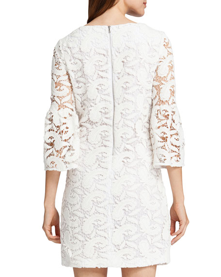 Cora 3/4-Sleeve Lace Shift Dress, Lily White