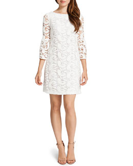 Cynthia Steffe Cora 3/4-Sleeve Lace Shift Dress, Lily White