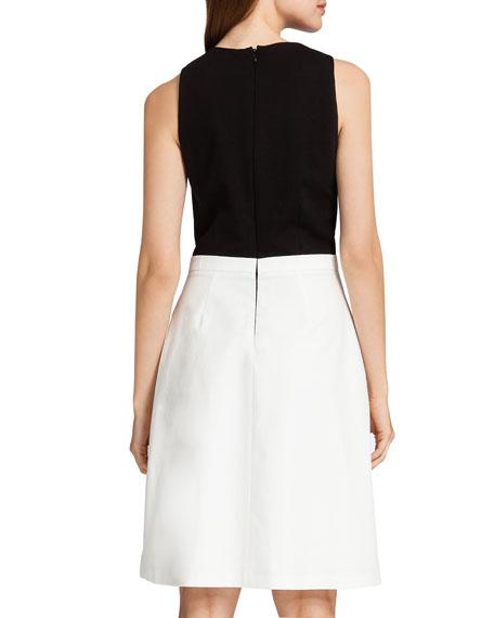 Pia Contrast Mixed Media Dress, Black/Cream
