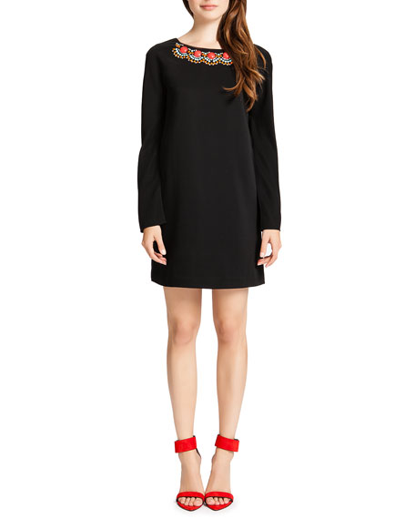 Jersey Long-Sleeve Shift Dress with Embellished Neck, Black/Multicolor