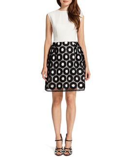 Cynthia Steffe Andy Cap-Sleeve Records-Skirt Dress, Black/White