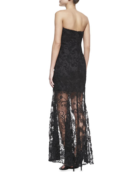 Strapless Lace-Overlay Illusion-Hem Gown, Black