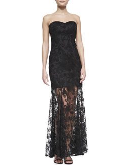 Aidan by Aidan Mattox Strapless Lace-Overlay Illusion-Hem Gown, Black