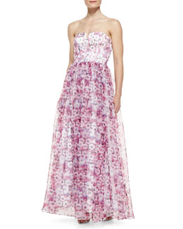 Aidan by Aidan Mattox Strapless Floral-Print Ball Gown, Purple/Multicolor