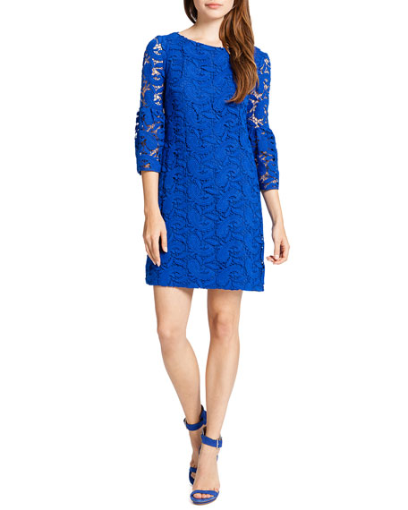 Cora 3/4-Sleeve Chemical Lace Shift Cocktail Dress