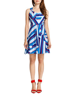 Cynthia Steffe Drea Sleeveless Abstract Sailor-Print Dress