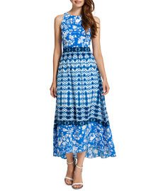 Cynthia Steffe Sydney Long Sleeveless Printed High-Low Dress
