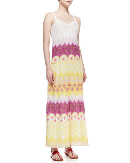 Diane von Furstenberg Marny Sweetheart-Neck Long Crinkle Dress, Multicolor