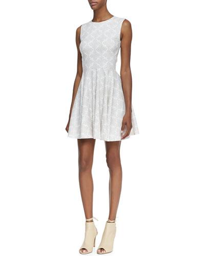 Diane von Furstenberg Jeannie Sleeveless Diamond-Print Cotton Dress, White/Gray