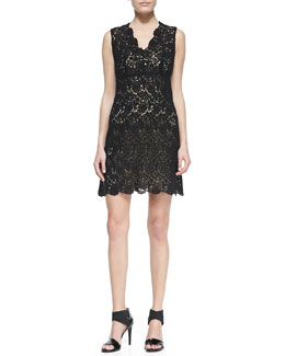 Diane von Furstenberg Hippolyte Sleeveless V-Neck Lace Cocktail Dress, Black