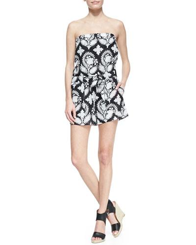 Diane von Furstenberg Miranda Crinkle Strapless Short Jumpsuit