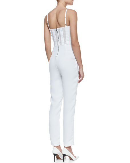 Sleeveless Pleated Crepe Jumpsuit