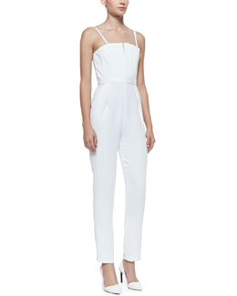 Alice + Olivia Sleeveless Pleated Crepe Jumpsuit