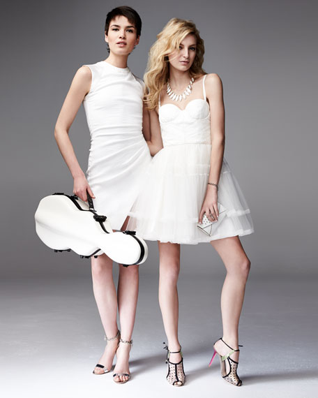 Rizzo Lambskin &  Organza Flare Dress