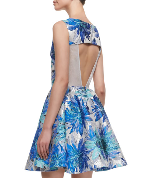 Foss Brocade Fit-and-Flare Dress