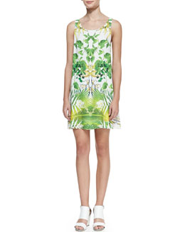 Alice + Olivia Trina Tropical Cutout-Back Dress