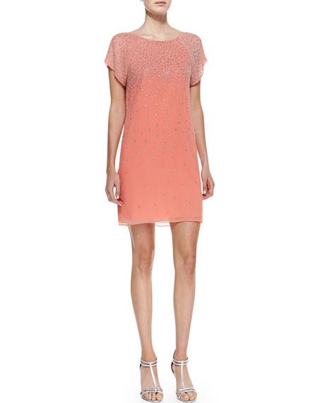 Philly Beaded Chiffon Short-Sleeve Dress