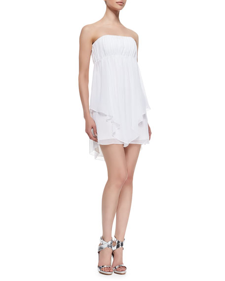 Dominick Draped Strapless Babydoll Dress