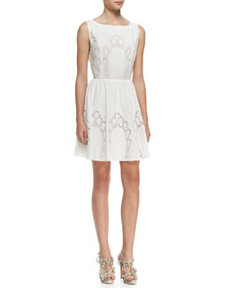Alice + Olivia Vinny Embroidered Cotton Party Dress