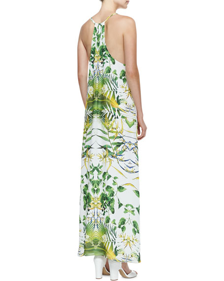 Dove Printed Racerback Maxi Dress