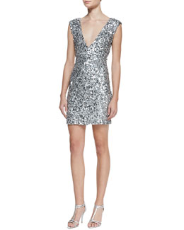 Alice + Olivia Deep V-Neck Sequin Dress