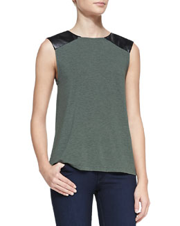 Alice + Olivia Leather-Shoulder Slub Top