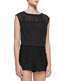 Alice + Olivia Leather-Shoulder Boxy Tee