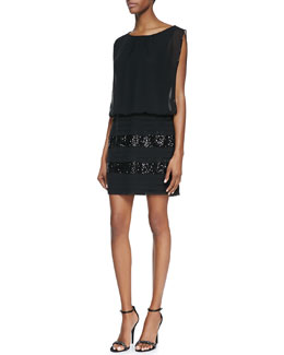 Aidan by Aidan Mattox Boat-Neck Sequined Dress