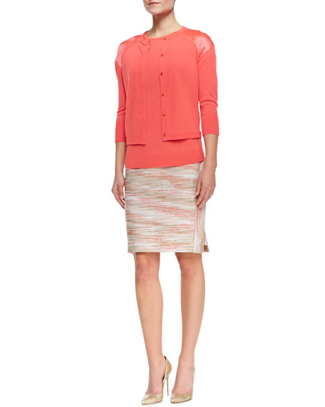 Space Dye Boucle Pencil Skirt
