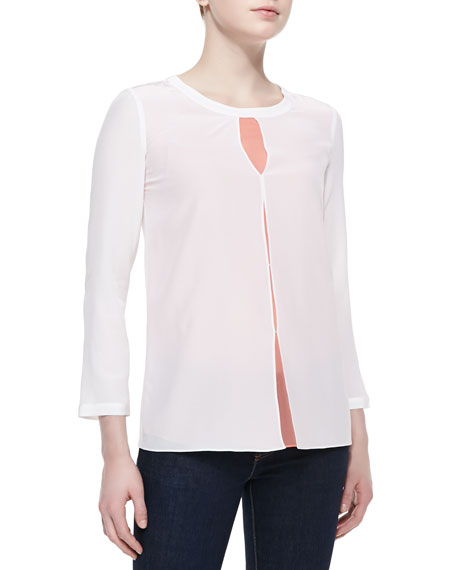 Long-Sleeve Keyhole Tacked Blouse