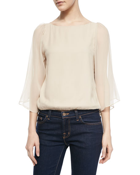 Briar Bell Sleeve Boat-Neck Top