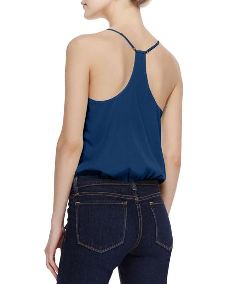 Noa Elastic-Hem Stretch-Silk Top