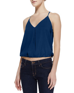 Alice + Olivia Noa Elastic-Hem Stretch-Silk Top