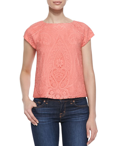 Cap-Sleeve Boxy Lace Top