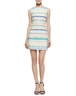 Alice + Olivia Eli Boat-Neck Sleeveless Flare Dress