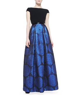 Theia Cap-Sleeve Metallic-Skirt Ball Gown